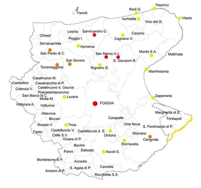 Cartina Puglia Zona Gargano.Coronavirus In Provincia Di Foggia La Mappa Dei Contagi Garganotv